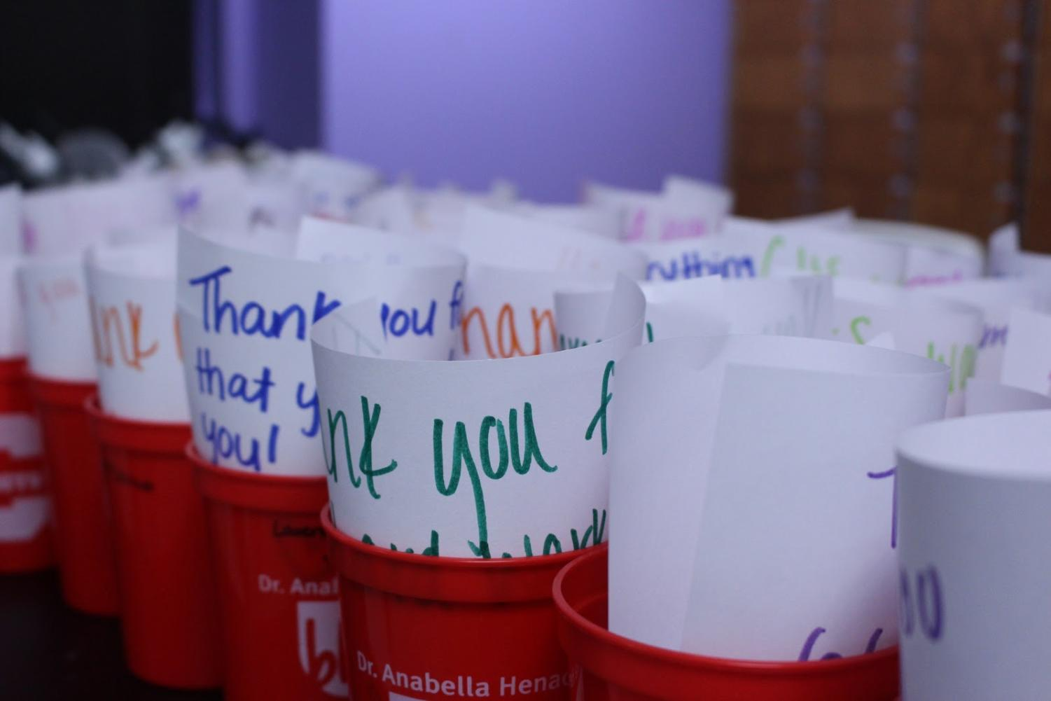 During seventh period on Tuesday, Student Council provided thoughtful notes in solo cups with scented bath salts at the bottom, and each cup was labeled with the scent.