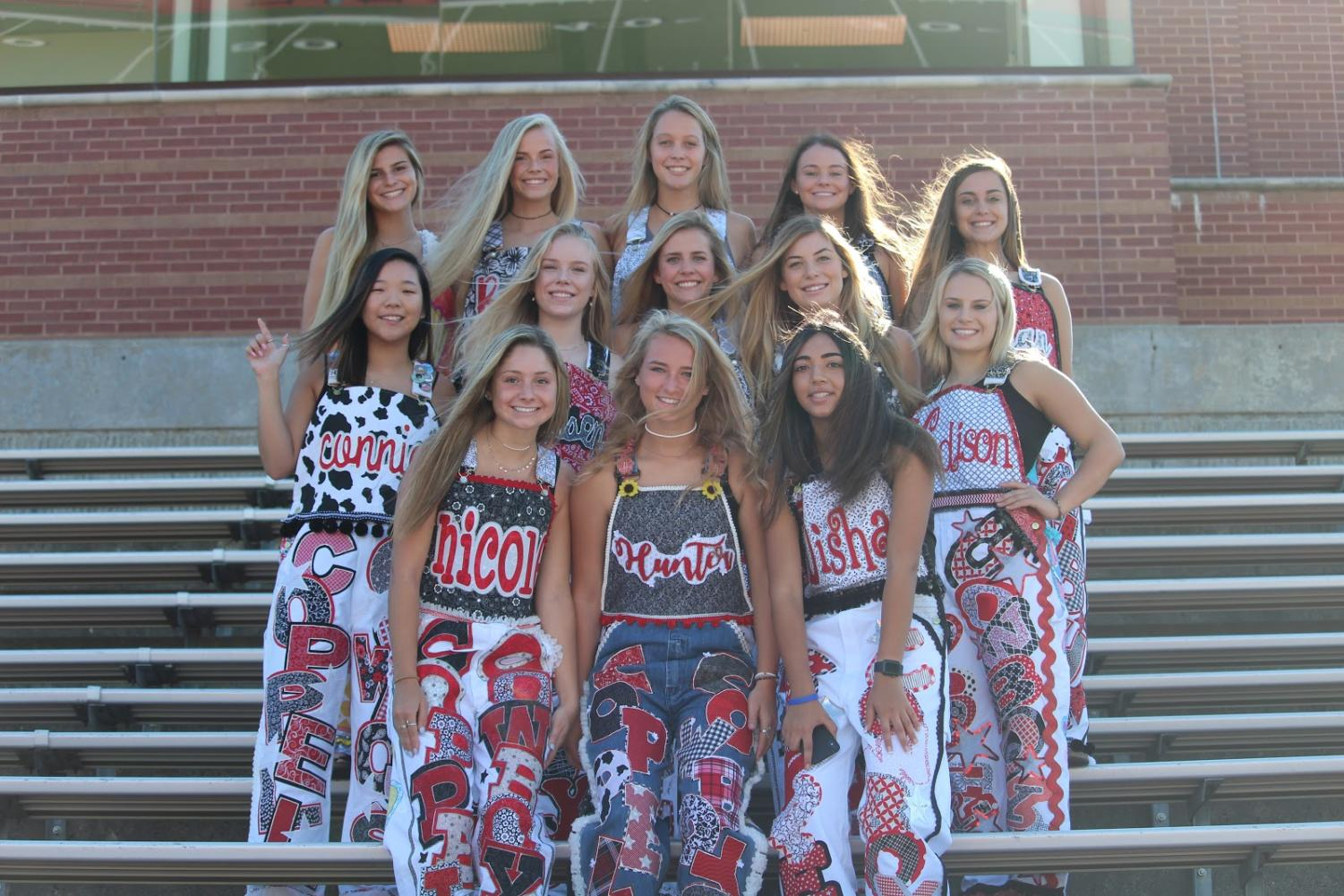 Coppell High School seniors show off their decorated, custom-made overalls at Buddy Echols Field. Seniors spend weeks, even months, choosing between fabrics, trims, patches - fabricating each detail for their overalls.
