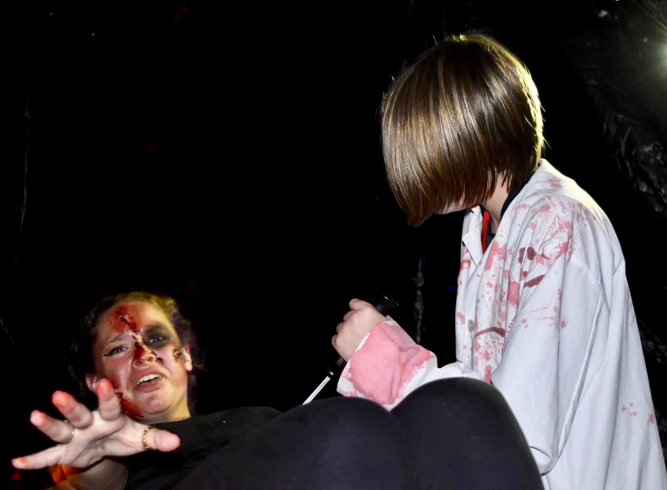 New Tech High @ Coppell students volunteer to usher and act out multiple scenes, with extremely detailed costumes and bloody makeup on Oct. 25. New Tech High @ Coppell hosts its 11th annual haunted house and Fall Festival since 2008.