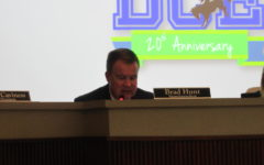 Coppell ISD Superintendent Brad Hunt discusses district highlights on Monday at Vonita White Administration Building. The regular Coppell board meetings are held every fourth Monday.