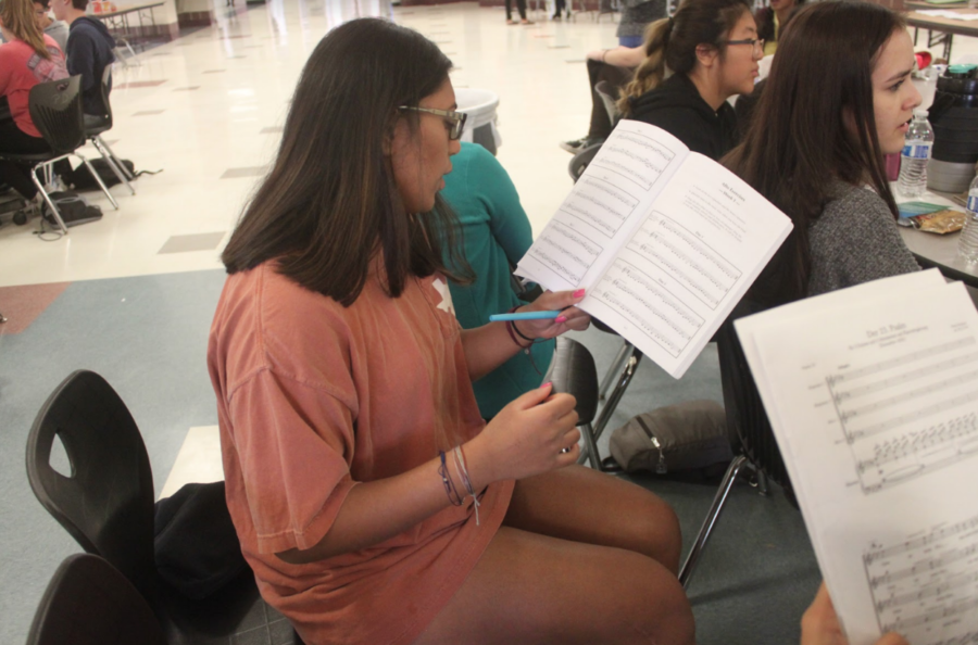 Coppell High School senior Esha Ellendula recites over Soprano One cuts prior to her All-Region Audition. Students from all over the region competed on Oct. 20 at Colleyville Heritage High School to advance to the Pre-Area auditions.