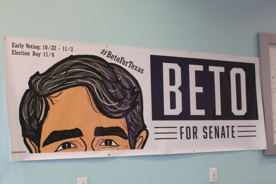 A+Get+Out+The+Vote+poster+shows+off+O%27Rourke%27s+campaign+in+TCBY%2C+a+local+frozen+yogurt+shop+and+Beto+Pop-Up+office.+Volunteers+come+here+to+collect+materials%2C+get+trained%2C+and+call+voters+to+provide+them+with+information+about+when+and+how+to+vote%2C+along+with+reminders+to+go+to+the+polls+during+Early+Voting+and+on+Election+Day.