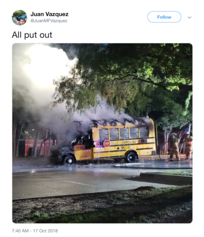 UPDATED: None injured as CISD bus unexpectedly catches fire