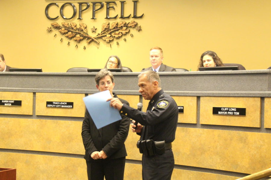 The+Coppell+City+Council+honors+Police+Chief+Macario+%E2%80%9CMac%E2%80%9D+Tristan+for+his+service+to+the+City+of+Coppell.+Tristan+will+be+retiring+effective+Dec.+2+at+the+City+Council+meeting+on+Nov.+13.