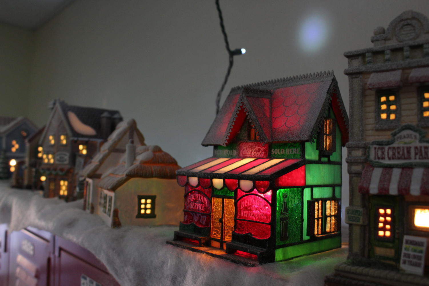 Coppell High School Emergency Medical Technician and Pharmacy tech teacher, Gary Beyers has set up a miniature holiday village and a large wintertime train set display in and out of A110. The Christmas village has fake snow and music, with a train track set up inside his room. A wreath hangs on Beyer's door.