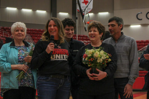 On Wednesday morning, Coppell High School Special Ed Teacher Melissa Murray is announced as the 2018-2019 Teacher of the Year in the arena. Murray, with CHS Principal Dr. Nicole Jund, has been in the district for 20 years and has been teaching at the CHS for 13 years.