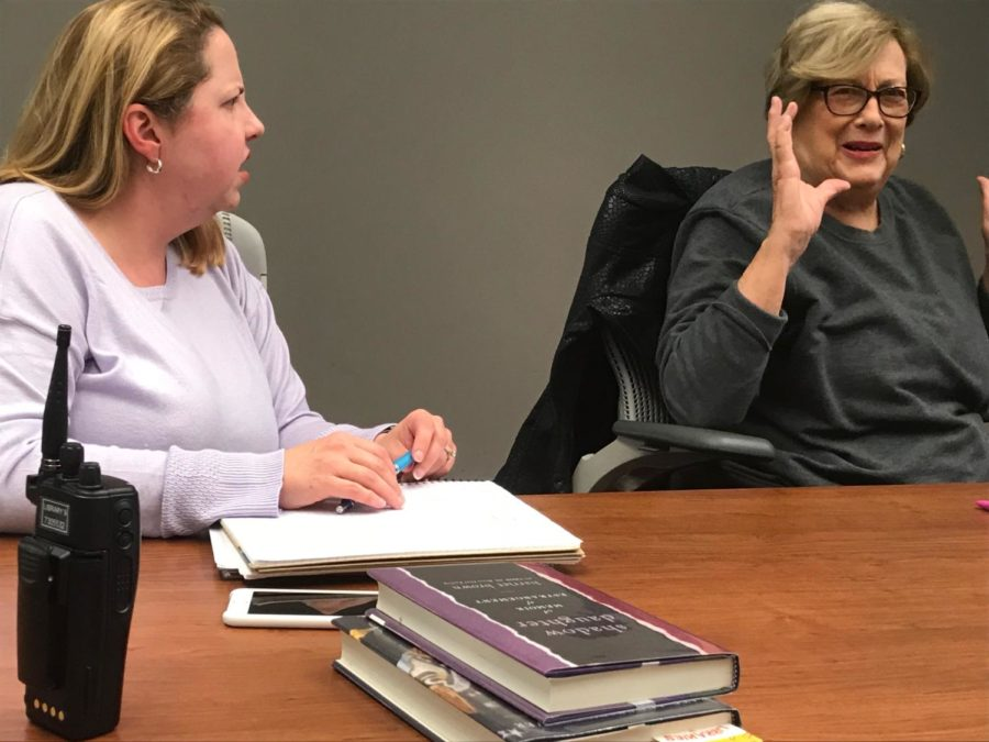 Cozby Library and Community Commons Librarian Jennifer Franz and Coppell resident Marcia Raines converse at the Got Books? club on Monday. Got Books? meets every month, and members discuss novels they read that month.