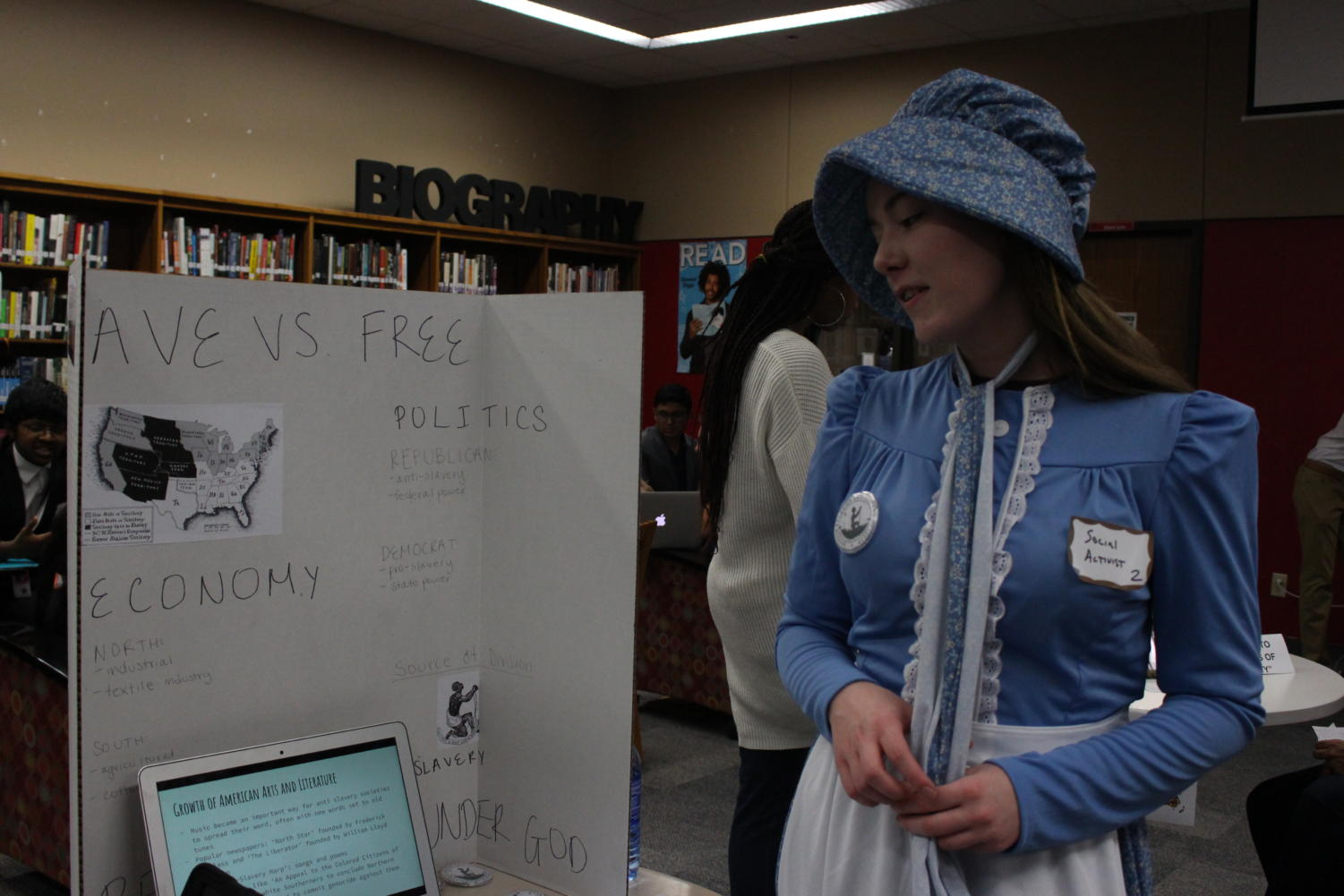 "Coppell High School APUSH student dresses up as a social activist for the ""We Are One"" project. Students had to represent a piece of the Antebellum time period for this assignment."