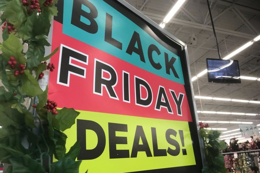 A sign at Michaels indicates the store's sales for Black Friday. Many stores around Dallas and the entire nation reduced their items' prices for the weekend after Thanksgiving.