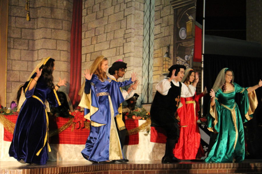During the 24th annual Madrigal performance held on Saturday December 8th, members of the group entertain the audience as they embody their characters during the show. Attendees are seated in the CHS commons and are served dinner and dessert while enjoying the performance.