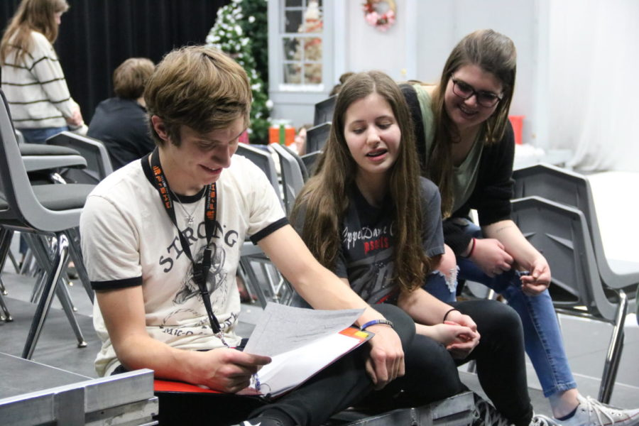 Coppell High School sophomore Matthew O'Quinn rehearses lines with sophomores Sydney Dixon and Zoe Cripe from the musical A Chorus Line during Karen Ruth's eighth period Fame class. O'Quinn has been a football player and an actor at CHS and has experienced the stereotypes that come with both.