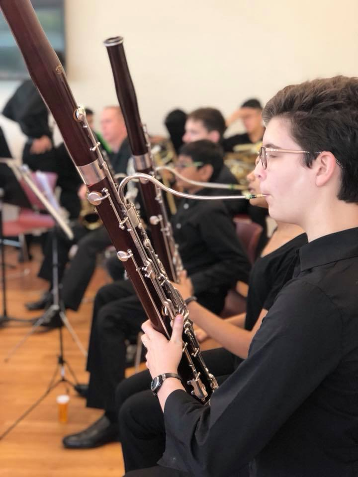 Coppell High School senior Isabel Goodwin plays the bassoon at Coppell Community Orchestra's MASKS - Composers in Disguise performance last year.