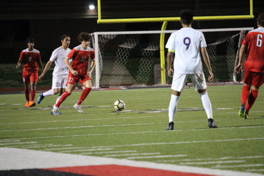 Coppell junior midfielder Maxwell Winneker plays against Keller Timber Creek at Buddy Echols Field earlier this season. The Cowboys plays Flower Mound Marcus tonight in a critical district match.
