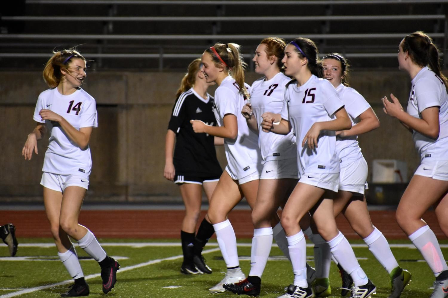 The Coppell girls soccer team celebrates after a goal during a match against Lake Highlands in the 2017-2018 season. The Cowgirls will play Paschal on Tuesday at 7:30 p.m. at CHS9.