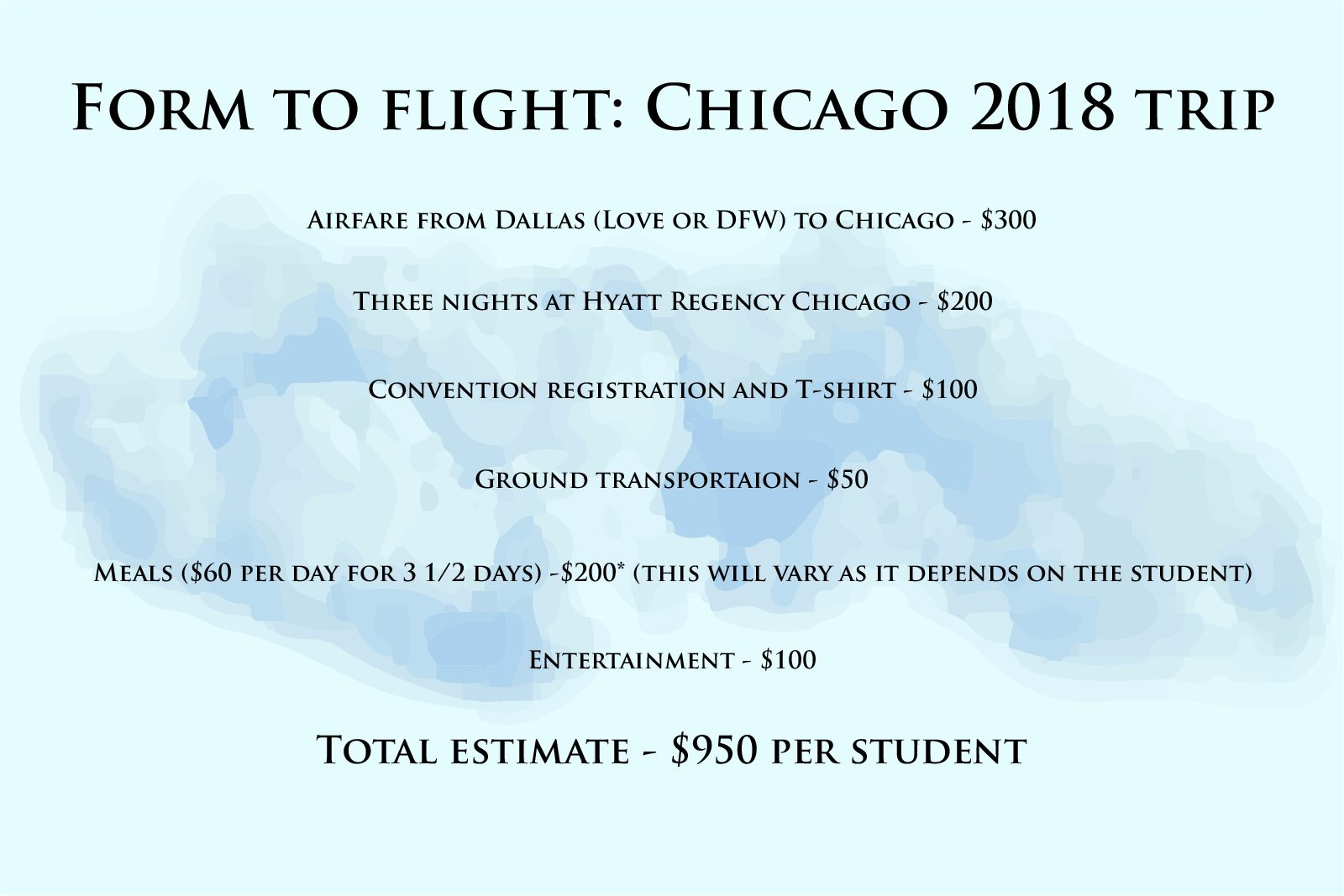 Coppell High School The Sidekick hosts two travel conventions each year, one of them being the trip to Chicago. The Sidekick is required to estimate prices for each student for school field trips. Infographic by Jacob Nelson.