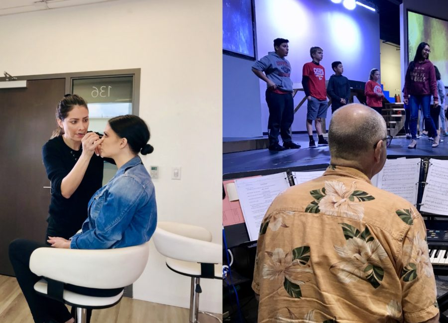 """Professional makeup artist Leslie Hernandez (left) concentrates as she does 2018 Miss Texas United States Andrea Fox's makeup. Ricky Mitchell (right) walks through the music of FUMC's upcoming musical, """"The Beauty and the Beast."""" The Sidekick's Camila Villarreal encourages readers to pursue their passions and not chase the big bucks."""