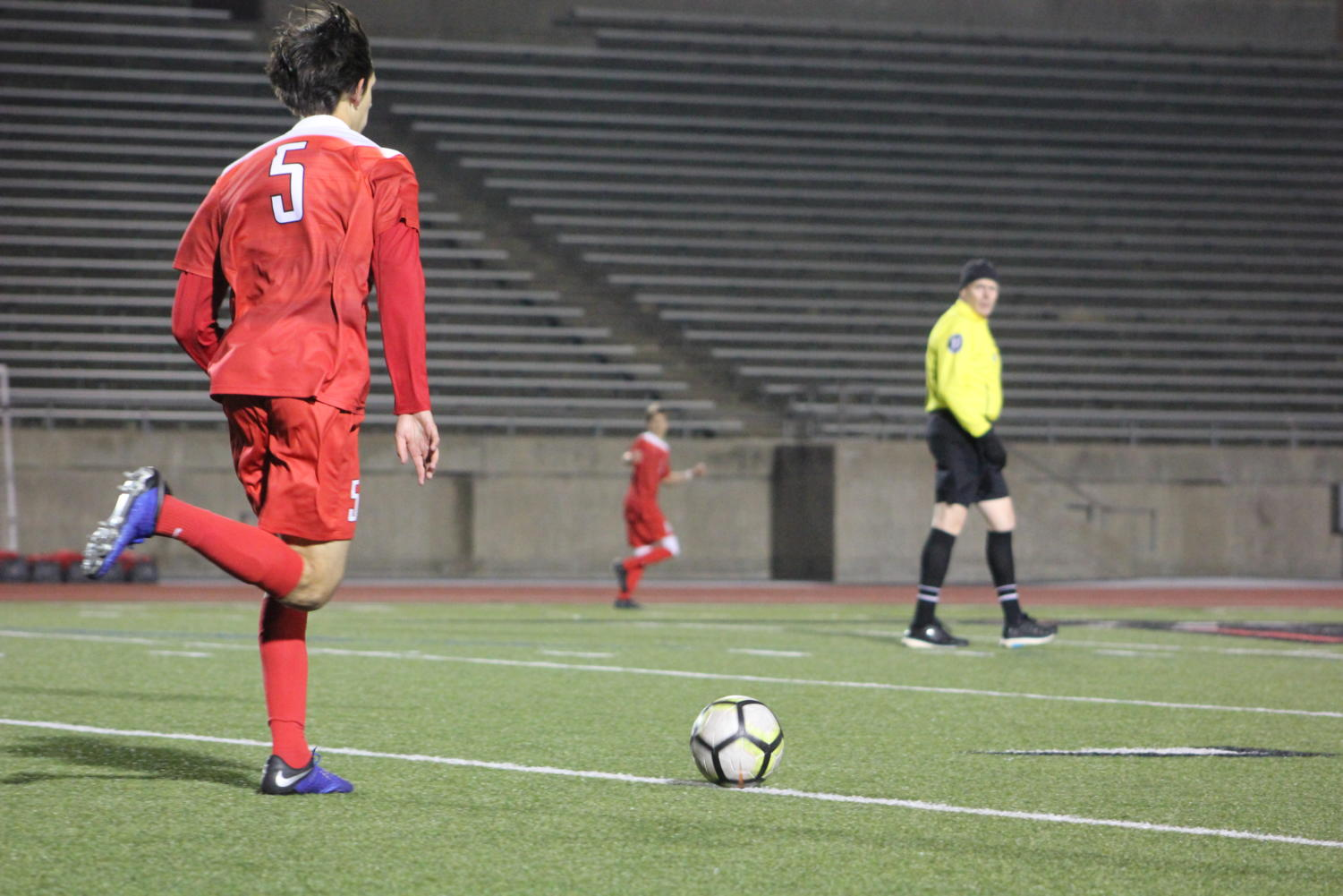 Coppell junior Nathan Hernandez dribbles upfield during a match against McKinney Boyd, at Buddy Echols Field. The Cowboys will play against Falcons tomorrow at 7:30 p.m. at Buddy Echols Field.
