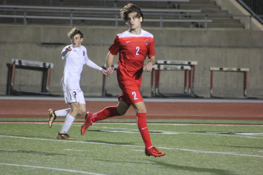 Coppell High School junior, Brandon Gast gets open for the ball during the game on Jan.15th against McKinney Boyd, at Buddy Echols Field. Cowboys lost the battle to the Broncos 3-2.