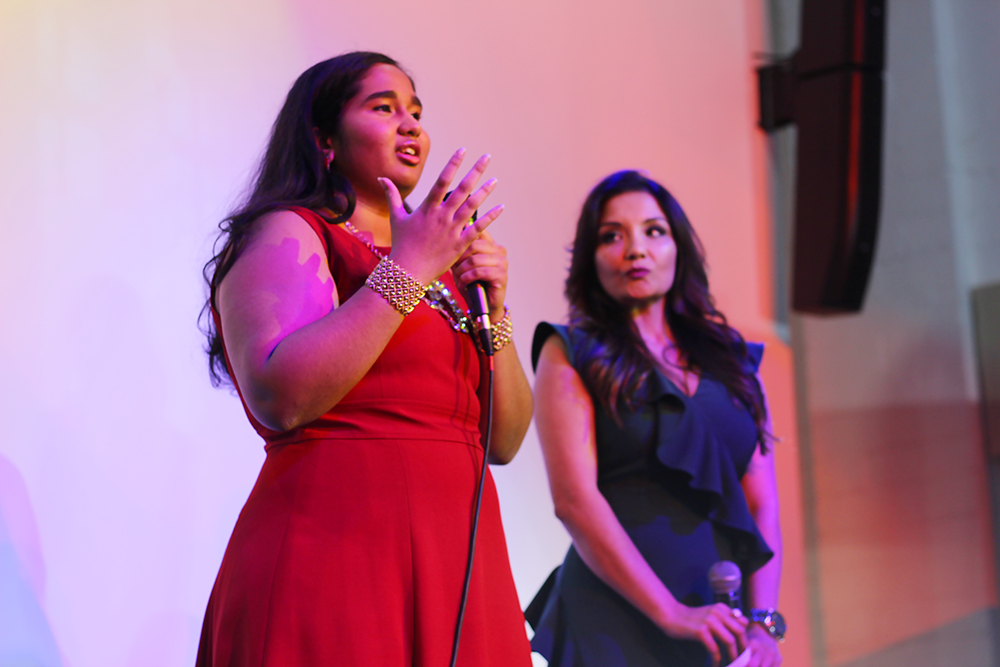 Shots by Bhavya creative director Bhavya Vasireddy and Kurry N Tulips event planner Monicca Sharma explain the importance of body diversity. On Feb. 9, Shots by Bhavya hosted its first annual fashion show, which highlighted classical Indian dresses by local designers.