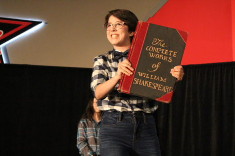 "Coppell High School sophomore Sydney de Leon performs in Karen Ruth's Broadway Bound class' annual play on Feb. 2 in Coppell High School's cafeteria. De Leon played one of the three narrators in ""The Complete Works of William Shakespeare (abridged)"" which had two shows on Feb 1st and 2nd."