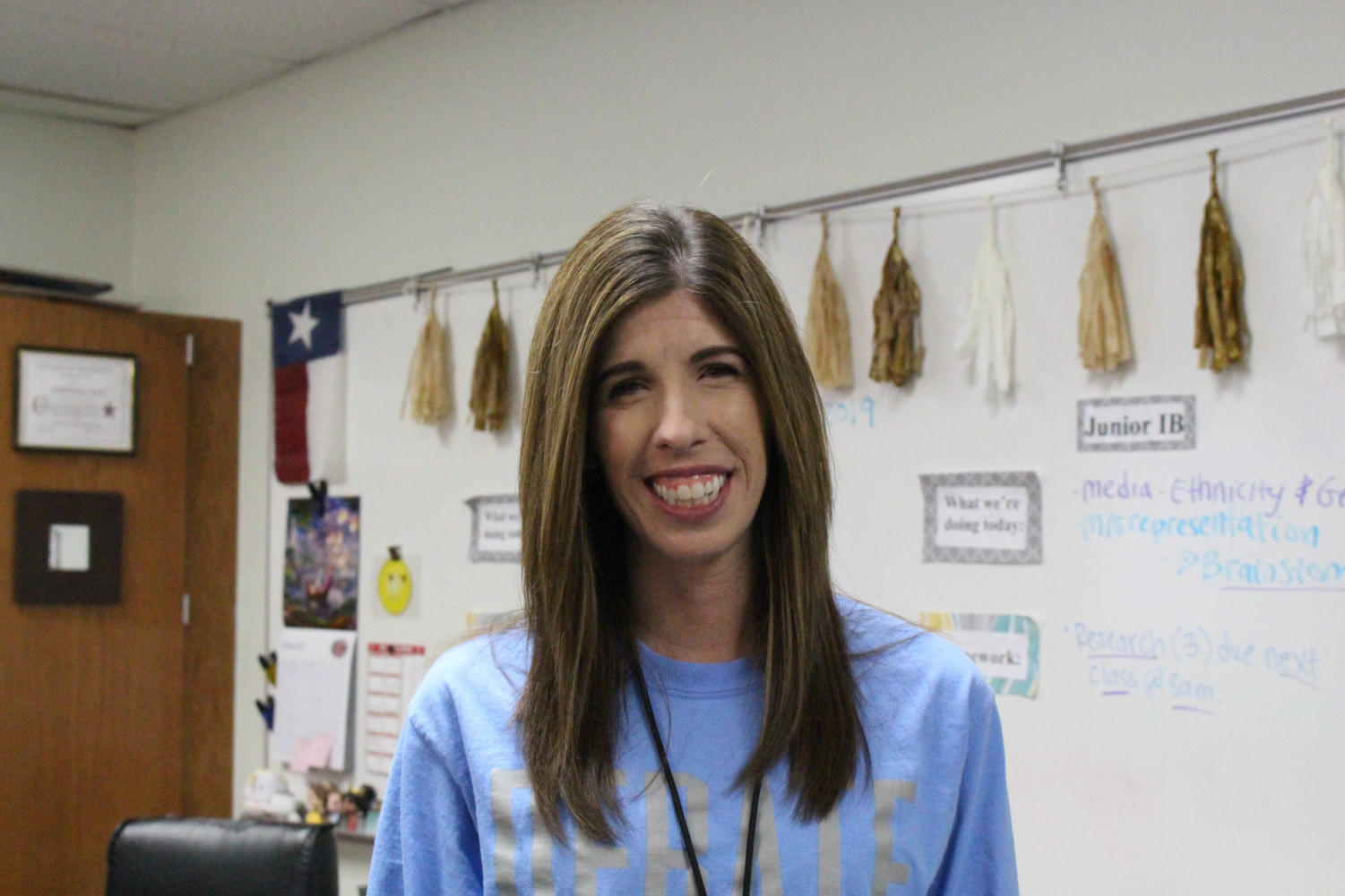 Coppell High School English IV, IB English III and Extended Essay teacher Stephanie Ball was elected as the Teacher of the Issue. Ball was chosen because of her love and experience in bonding with students.
