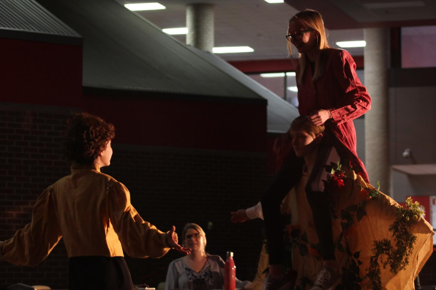 """Coppell High School Broadway Bound class rehearses """"The Complete Works of William Shakespeare"""" Thursday night in the commons at CHS. """"The Complete Works of William Shakespeare"""" will be performed Friday and Saturday night at 7:30 PM, in the commons for $5 admission at the door."""