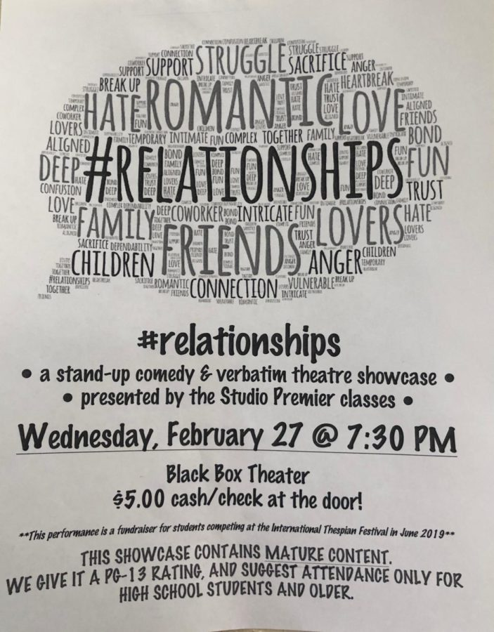 #relationships is a stand-up comedy and verbatim theater showcase, presented by the Coppell High School Studio Premier classes, and also contains mature content. This showcase is tonight at 7:30 p.m. at the CHS Black Box Theatre.