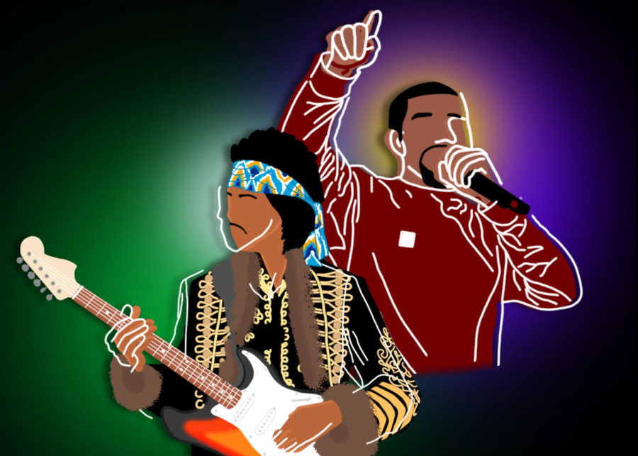 Jimi+Hendrix+and+Kanye+West+are+two+of+the+many+influential+black+artists.+Coppell+Student+Media+web+producer+Andr%C3%A9s+Bear+discusses+the+evolution+of+black+music+and+its+meaning+throughout+history.