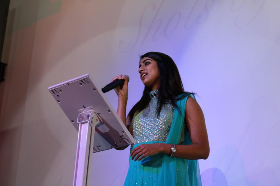 Coppell High School Neha Dharmapuram sings the song Moh Moh by Ke Dhaage at Shots by Bhavya 1st Annual Fashion at Ervay Theater on Feb. 10. CHS Bhavya Vasireddy presents a cultural fashion show with designers in the metroplex.