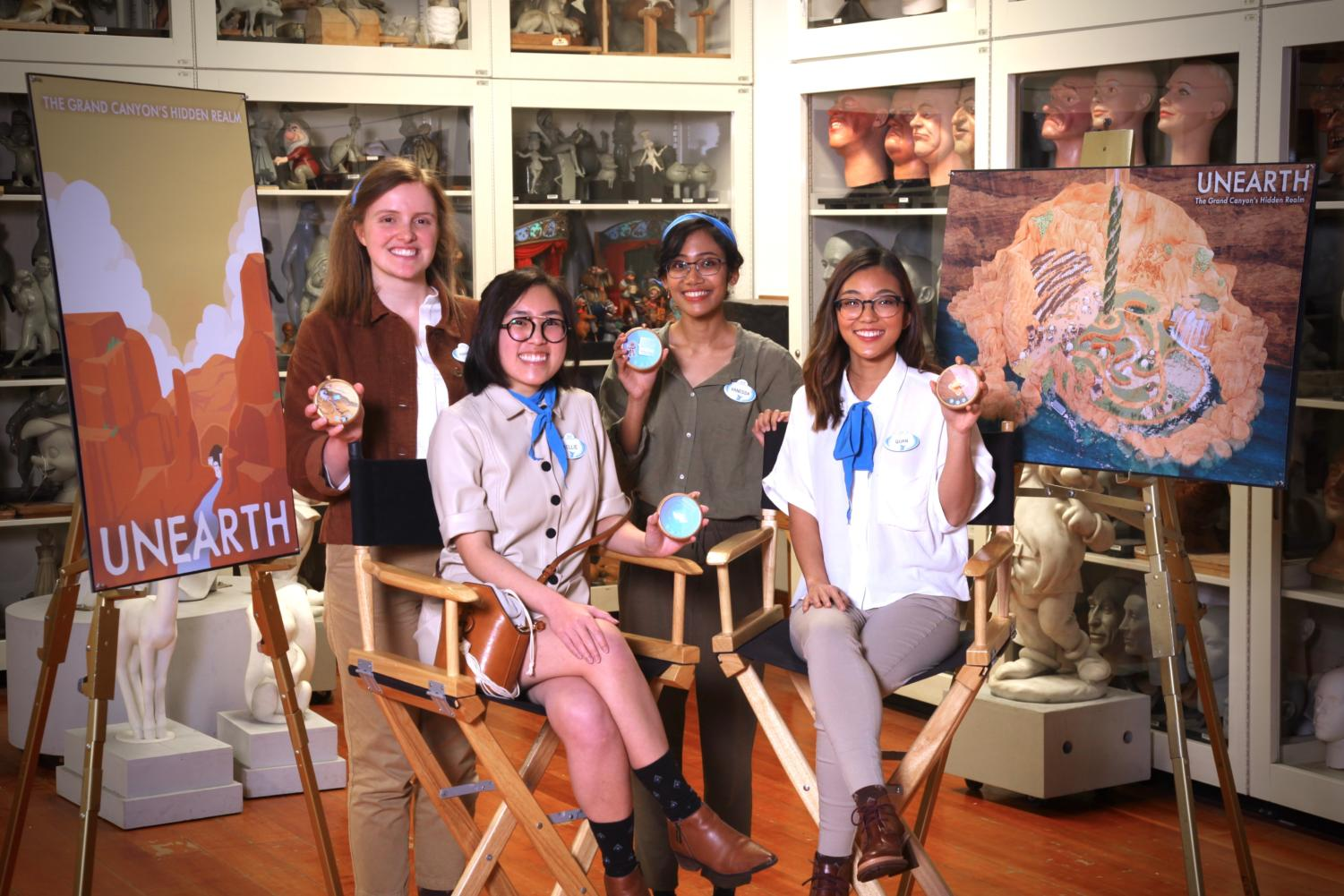 Team members Hannah Williams, Kellie Nguyen, Vanessa Astronoto and Quan Ha, compete in the Walt Disney Imagineering Imaginations Design Competition in Los Angeles with their entry, Unearth. The theme of the competition is natural or ancient wonders of the world. Williams is a 2014 graduate of Coppell High School.