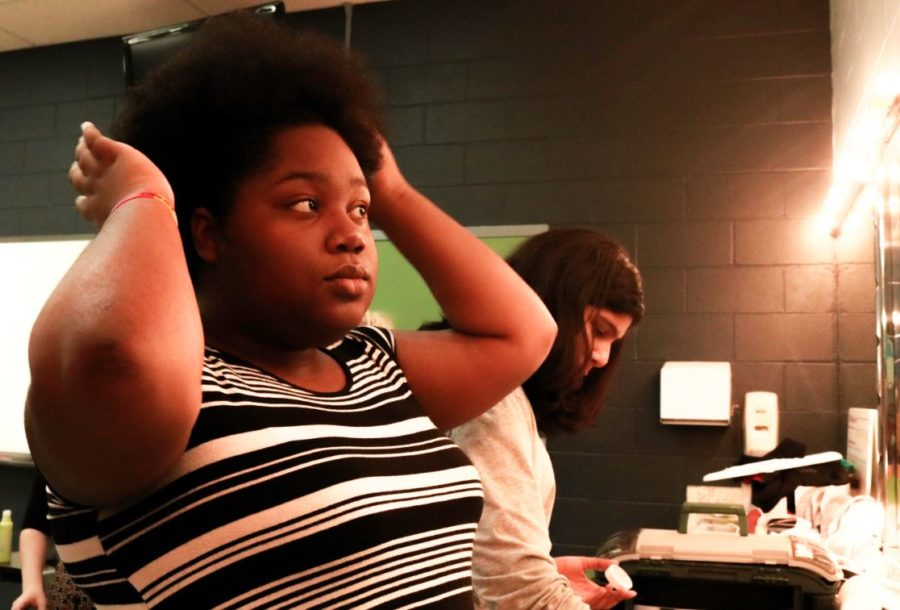 CHS junior Mikiyah Parker, one of the main actors of the play Anne Frank, gets ready for the last rehearsal in Coppell High School's Green Room. The play will be presented at the school in the Black Box Theatre from Friday to Sunday at 7:30, and also on Sunday at 2:30.