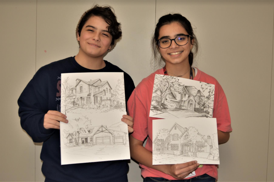 Coppell+High+School+sophomores+Catherine+Fuselier+and+Swarangi+Potdar+display+their+art+pieces+for+the+Coppell+home+tour+fundraiser.+More+than+%2424%2C000+was+raised+to+help+clothe+81+children+in+the+area.%0A