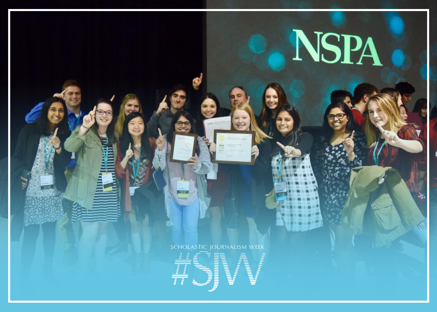 Members of the 2016-17 The Sidekick staff celebrate the first NSPA Online Pacemaker for Coppell Student Media at the Washington State Convention Center in Seattle. For 2019 Scholastic Journalism Week, The Sidekick adviser Chase Wofford appreciates how journalism has allowed him to experience such moments with special people.