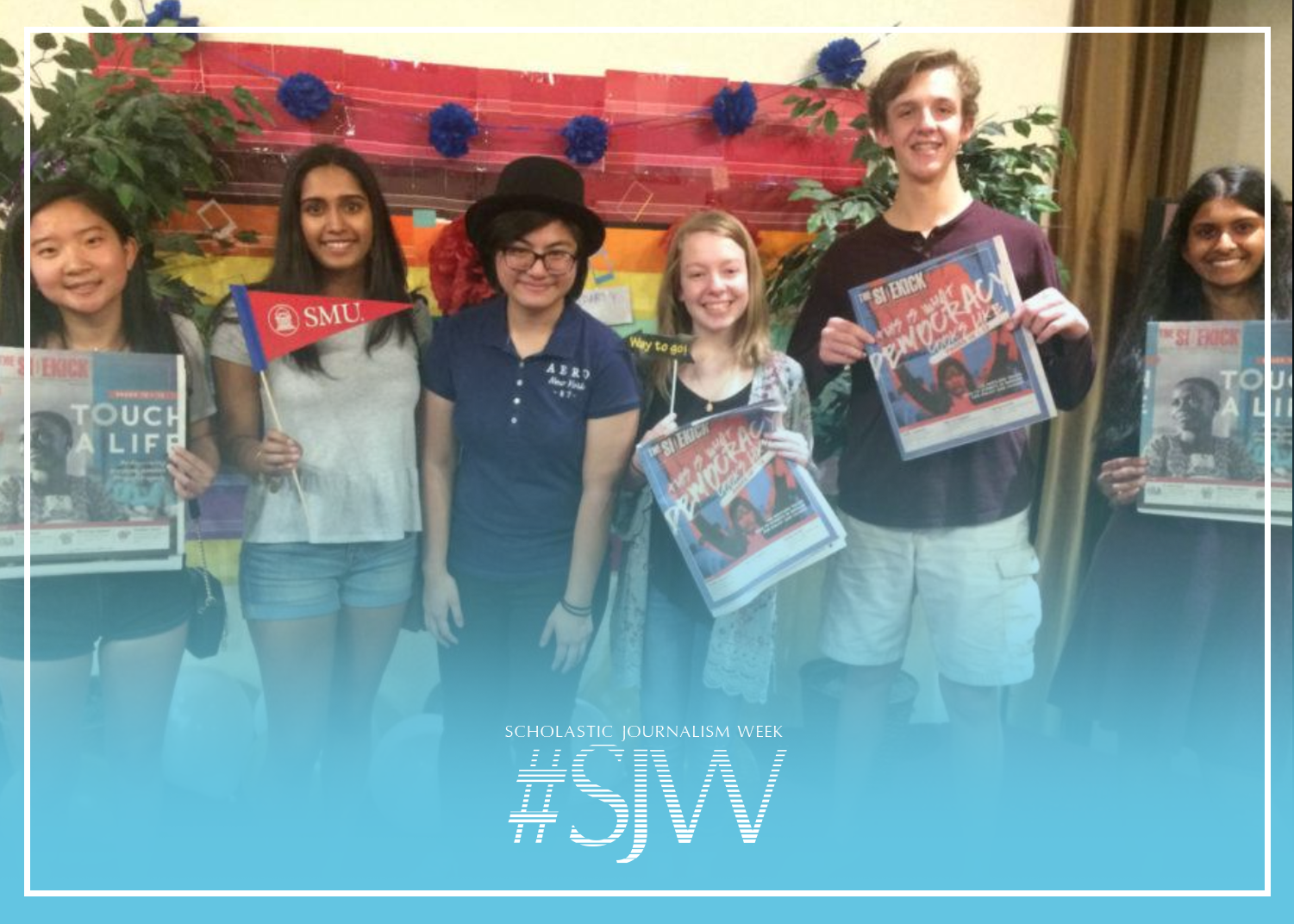 Former Sidekick editors Gracie Blackwell, Fiona Koshy and Wren Lee stand with current Sidekick editors Claire Clements, Nicholas Pranske and Pramika Kadari at Lee's 2018 graduation party. According to Kadari, joining the Sidekick staff has helped her realize how increasing work ethic can lead to heightened passion.