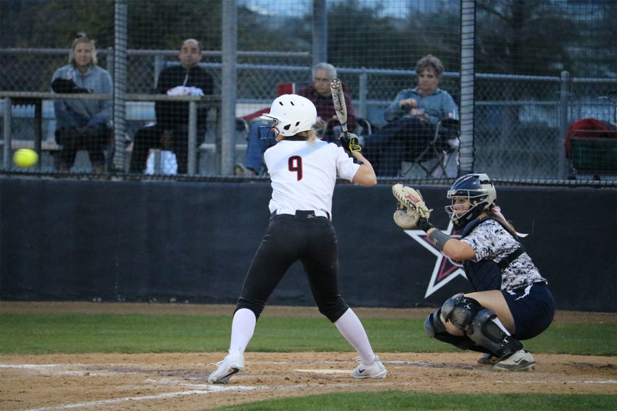 Coppell senior Hunter Handley third base keeps her eye on the ball during fourth inning at Coppell ISD Baseball/Softball Complex on Friday. The Cowgirls lost to Jaguars, 3-2.