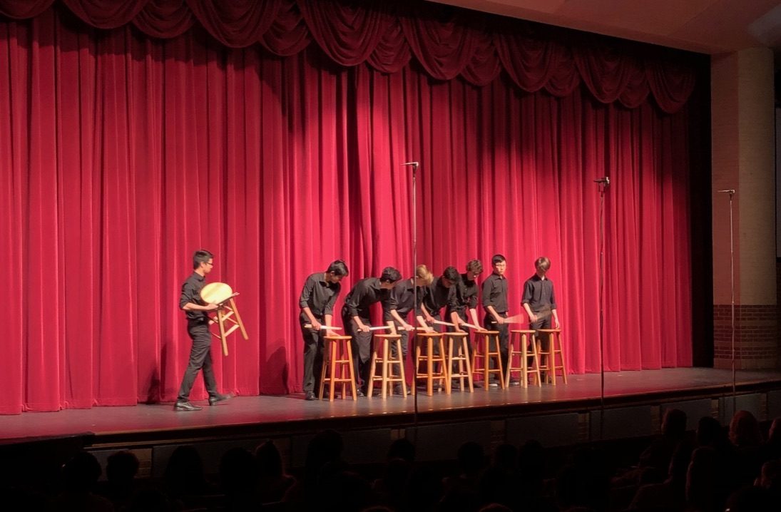 "Coppell High School percussionists ""Stool Pigeons"" perform during the second half of the Purely Rhythmic show in the CHS Auditorium. This annual event is primarily composed of elementary, middle and high schoolers to showcase their musical talents through multiple percussion instruments."