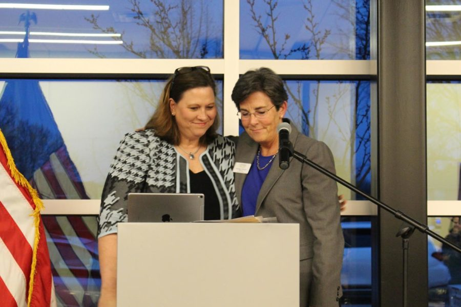 On Thursday, State Representative Julie Johnson welcomes Coppell Mayor Karen Hunt during the Town Hall & Legislative Update at the Cozby Library and Community Commons. Hunt was among the community members who attended the event, which discussed state budgets and bills impacting House District 115.