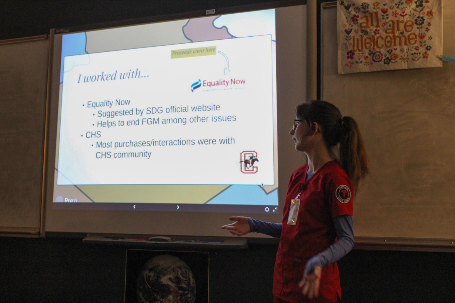 """Coppell High School senior Mary O'Connor talks about the organization """"Equality Now"""" for Goal 5: Sustainable Development Knowledge Platform in Angela Barnes's seventh period Astronomy class. Students in Earth and Space Science and Astronomy classes picked one goal for which to create an action plan."""