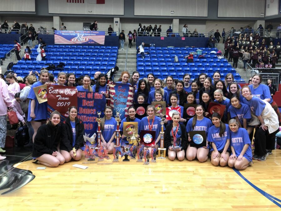 The+Coppell+High+School+Lariettes+competed+at+the+American+Dance%2FDrill+Team+%28ADTS%29+regionals+on+Feb.+23+at+Duncanville+High+School.+Coppell+Lariettes+won+a+total+of+17+awards%2C+including+best+soloist+and+highest+GPA+in+the+Large+Team+division.+