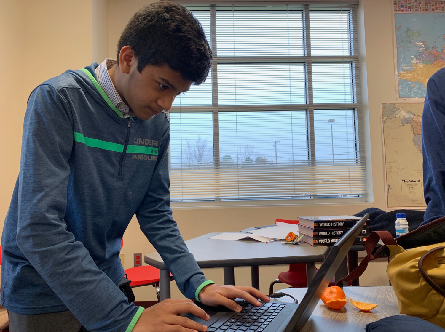Coppell High School sophomore Arnav Kashyap prepares to deliver his speech about immigration at the CX District policy debate tournament at Coppell High School on Feb. 4. Coppell teams took the top three spots, and the top two are expected to compete at the state competition in Austin on March 22-23.  Courtesy of Vanuli Arya