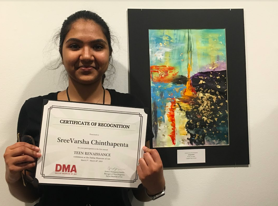 "Coppell High School junior SreeVarsha Chinthapenta displays her certificate in front of her artwork at the Dallas Museum of Art on March 16. Chinthapenta was chosen to showcase her artwork, ""Juxtaposition,"" through a festival hosted by the Dallas Museum of Art."