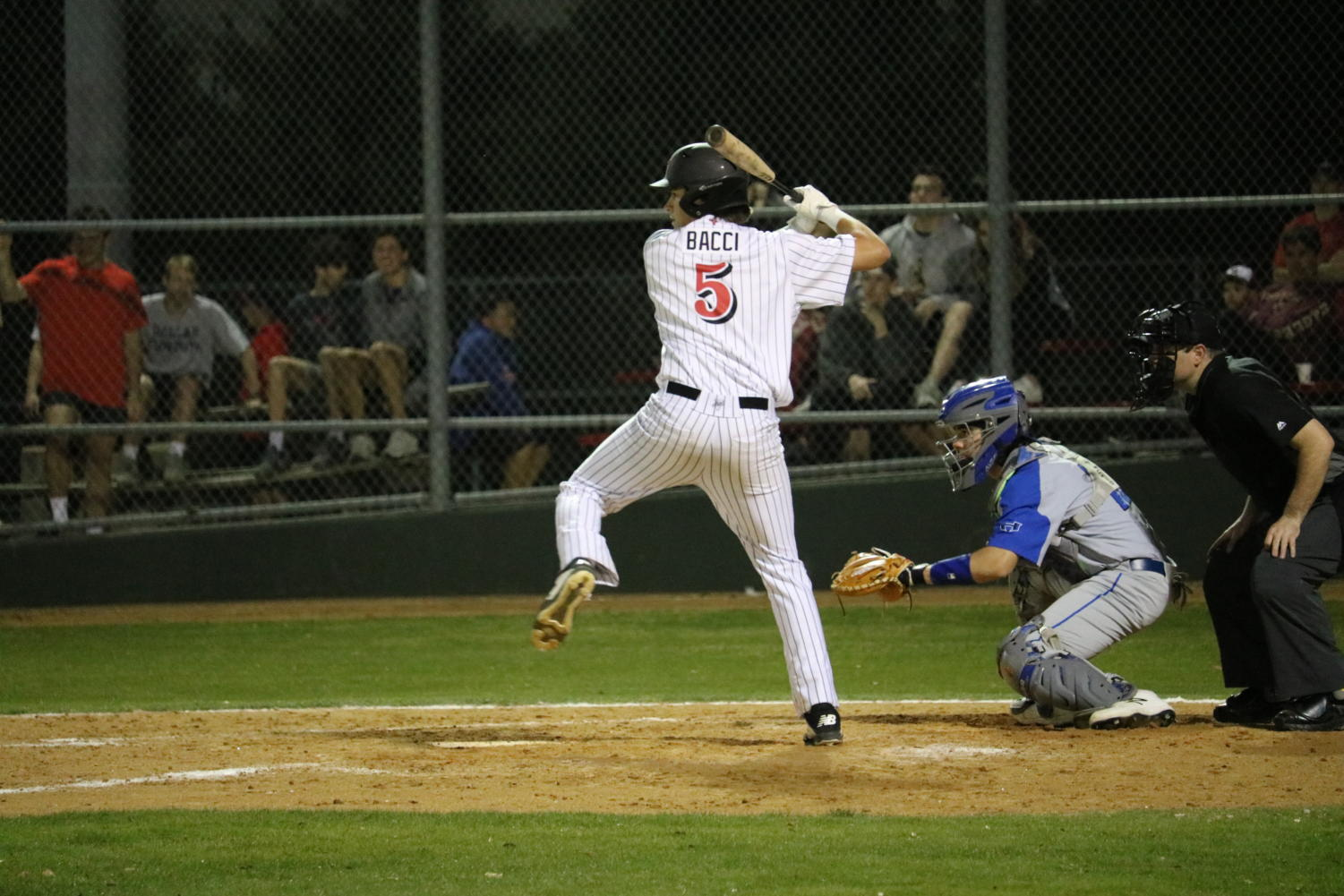 Coppell senior infielder Carter Bacci bats during the fifth inning against Hebron on Friday at the Coppell ISD Baseball/Softball Complex. The Cowboys play the Lewisville Farmers tonight at 7 p.m.