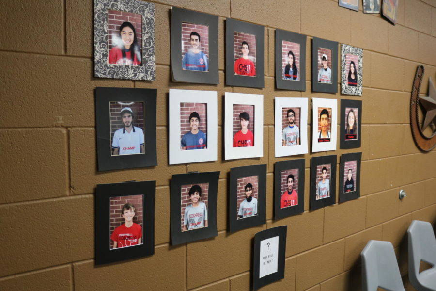 Coppell+High+School+tennis+players+get+framed+pictures+on+the+wall+inside+the+CHS+tennis+center+when+they+become+champs+or+super+champs.+Tennis+players+become+champs+and+super+champs+by+winning+a+specific+number+of+qualifying+tournaments+through+the+United+States+Tennis+Association+%28USTA%29.