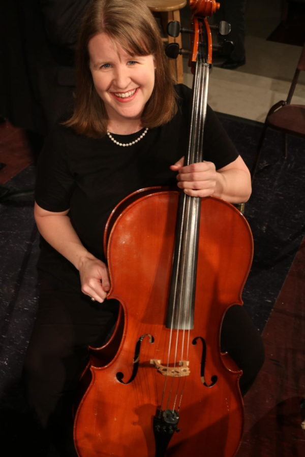 Coppell High School's honors precalculus and IB math teacher Karrie Kosh is also a cellist. Kosh has played with the Flower Mound Community Orchestra for 16 years. Photo by Lilly Gorman.