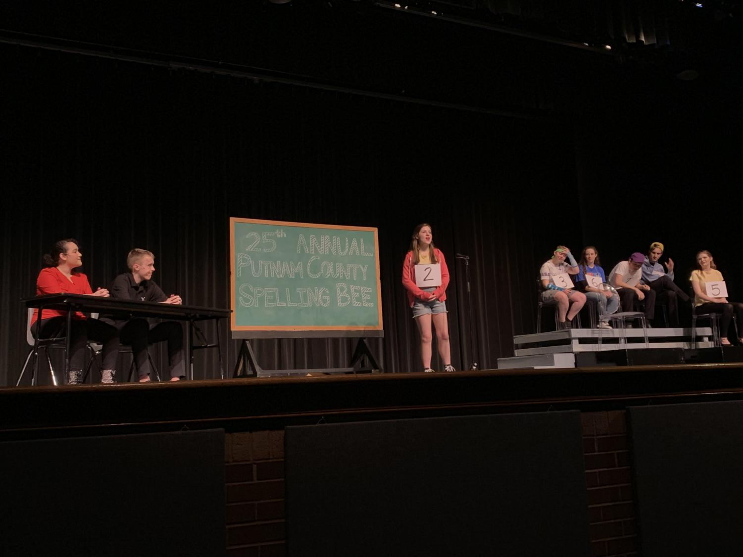 """Eight members of the cast perform """"My Friend, The Dictionary"""" from the musical """"The 25th Annual Putnam County Spelling Bee"""" during the Fame Show in the CHS auditorium last night. The Fame Show is a class show for Fame, the acting II class, taught by CHS theater teacher Karen Ruth, vocal coach Ben Brown and dance instructor Whitney Bollinger."""