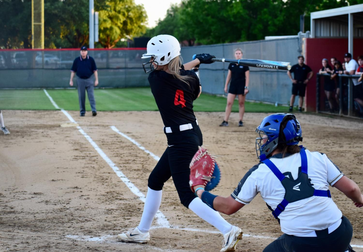 Coppell+junior+first+baseman+Olivia+Reed+bats+at+the+game+against+Keller+at+the+Colleyville+Heritage+High+School+on+Friday.+The+Cowgirls+lost%2C+5-2%2C+as+their+season+ended+in+the+first+round+of+playoffs.
