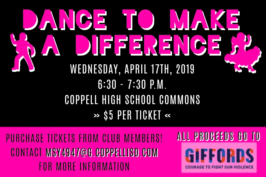 On Wednesday, the Dance to Make A Difference Club is hosting its annual recital fundraiser in the Coppell High School commons. All proceeds go to the organization Giffords: Courage to Fight Gun Violence.