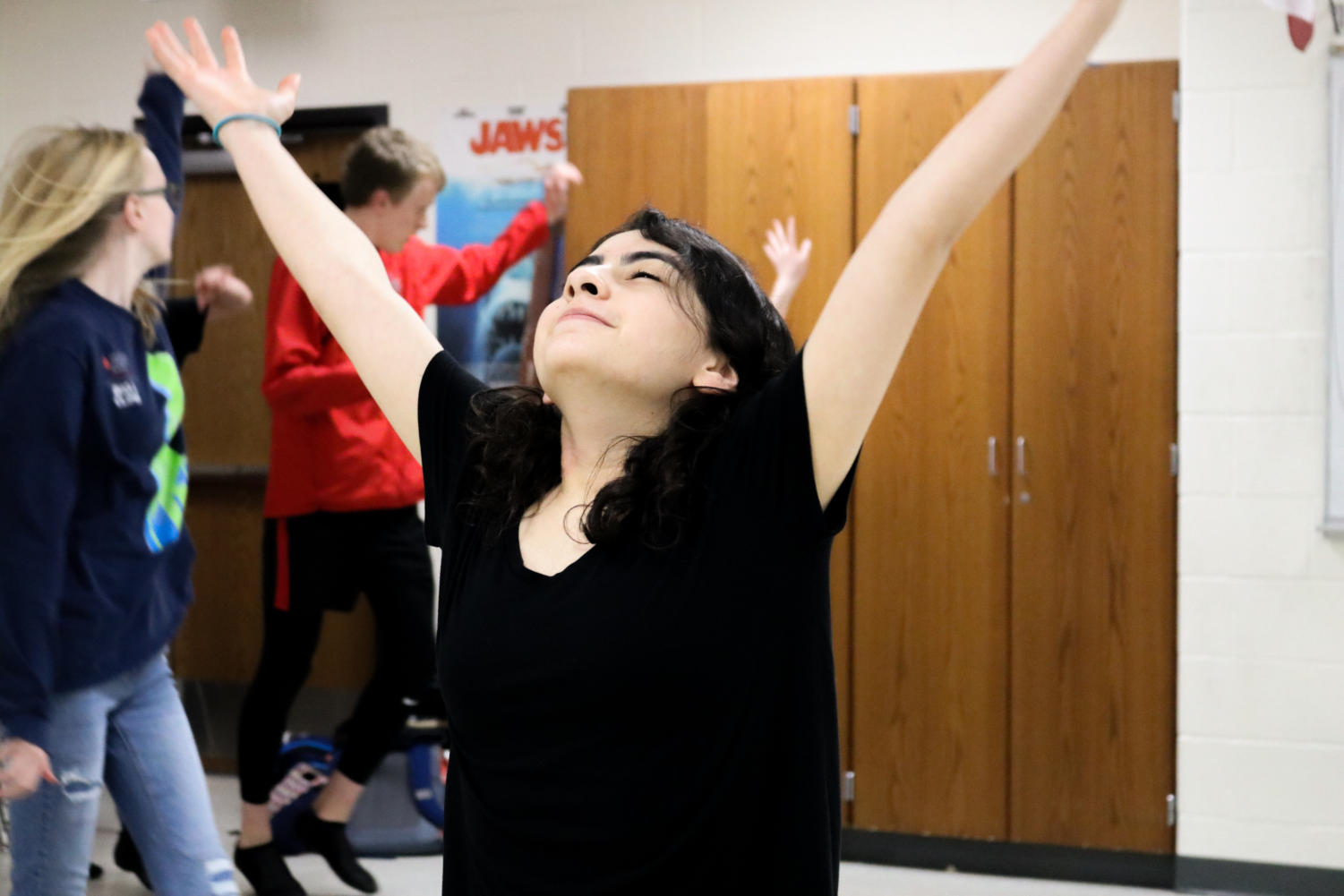 "Coppell High School sophomore Tiffany Mares-Camerena dances after her solo in ""Another Day of Sun"" from the film La La Land. The Fame musical theater class has its showcase on April 16 and April 18 in CHS auditorium."