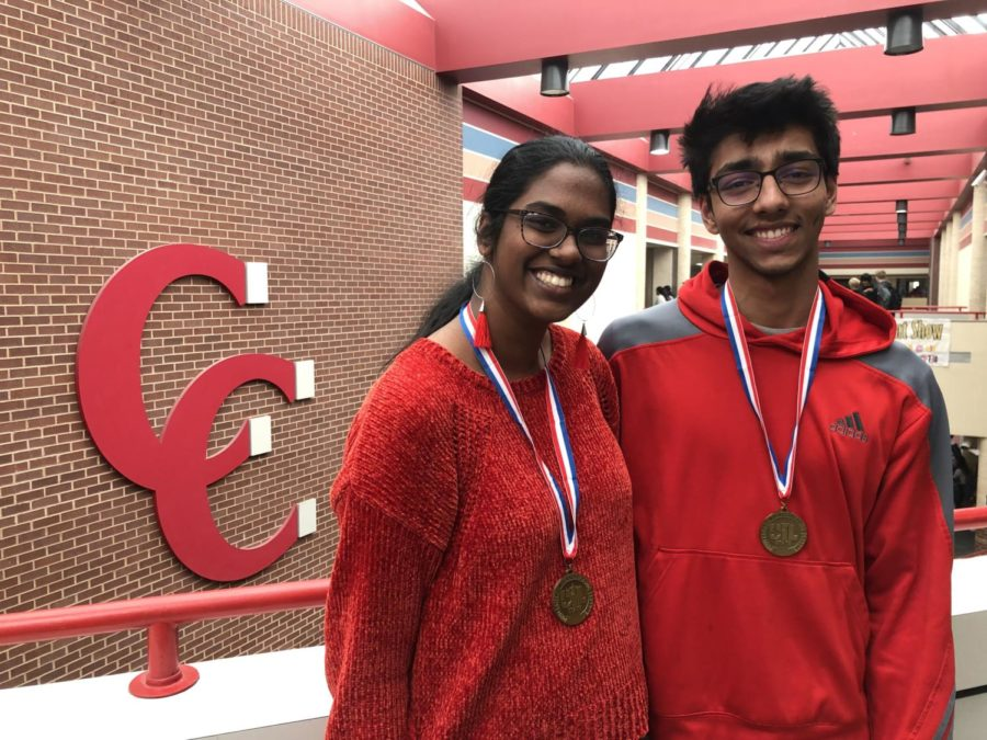 Coppell+High+School+senior+Jayashree+Ganesan+and+junior+Prayaag+Gupta+participated+in+the+UIL+Cross+Examination+Debate+state+meet+at+the+University+of+Texas+at+Austin+on+March+23.+Ganesan+and+Gupta+reached+the+quarterfinals+while+debating+whether+the+U.S.+government+should+reduce+its+restrictions+on+legal+immigration.
