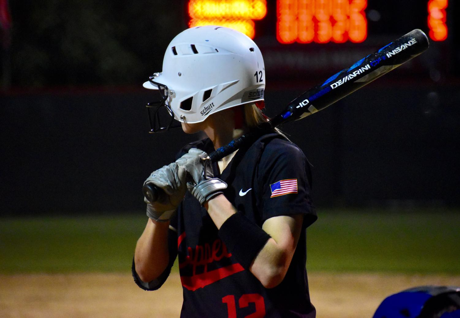 Coppell+sophomore+shortstop+Sydney+Ingle+bats+at+the+game+against+Keller+at+the+Colleyville+Heritage+High+School+on+Friday.+The+Cowgirls+lost%2C+5-2%2C+as+their+season+ended+in+the+first+round+of+playoffs.